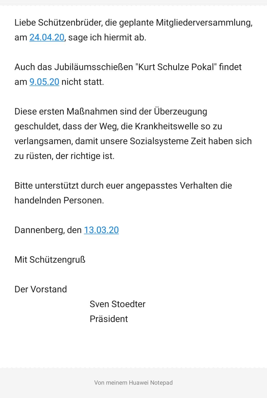 Die Gilde Mitgliederversammlung am 24.04.20 ist abgesagt
